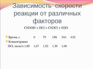 Зависимость скорости реакции от различных факторов CH3OH + HCl = CH3Cl + H