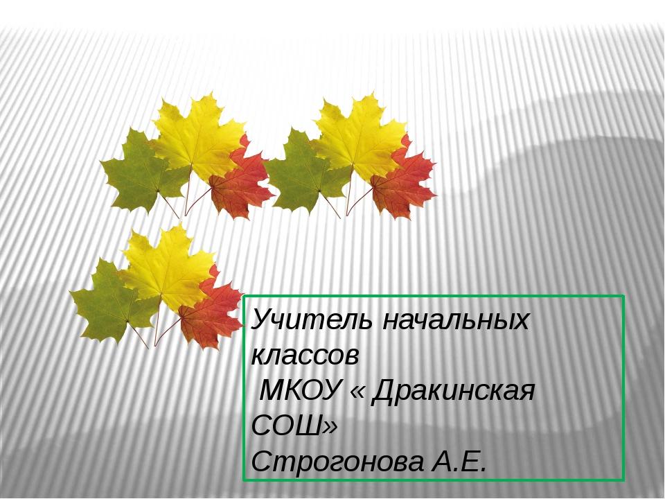 Учитель начальных классов МКОУ « Дракинская СОШ» Строгонова А.Е.