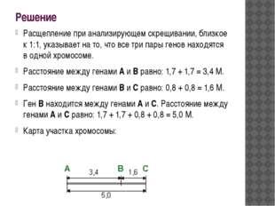 Решение Расщепление при анализирующем скрещивании, близкое к 1:1, указывает н