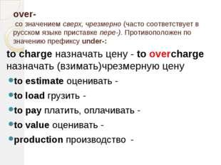 over- со значением сверх, чрезмерно (часто соответствует в русском языке прис