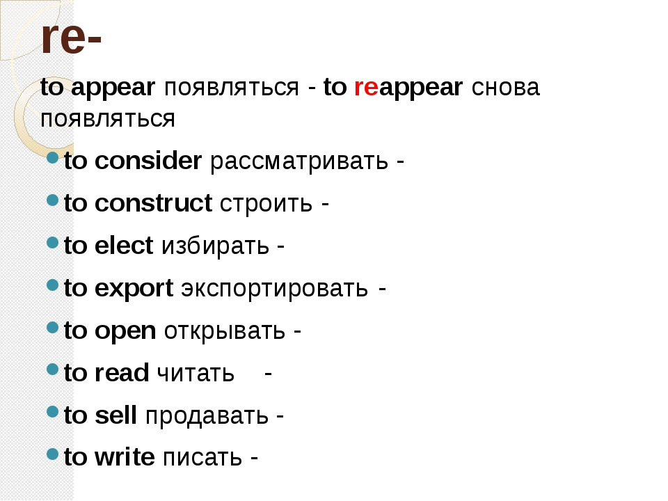 re- to appear появляться - to reappear снова появляться to consider рассматри...