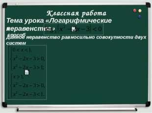 Классная работа Тема урока «Логарифмические неравенства» I способ Данное нера