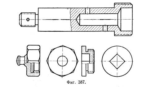Соединение части винта и разреза разделяя их волнистой линией