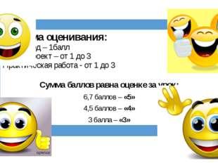 Система оценивания: Кроссворд – 1балл Мини–проект – от 1 до 3 Практическая р