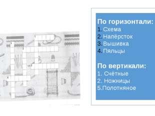 По горизонтали: Схема Напёрсток Вышивка Пяльцы По вертикали: 1. Счётные 2. Н