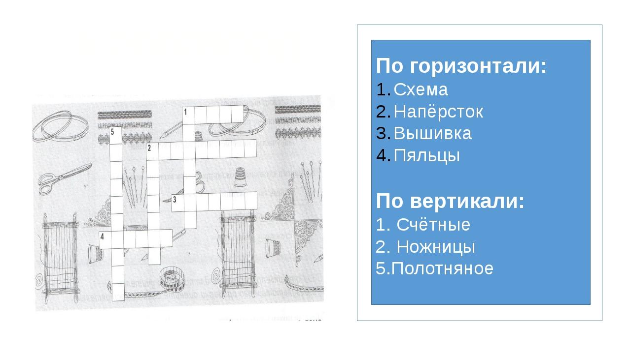 По горизонтали: Схема Напёрсток Вышивка Пяльцы По вертикали: 1. Счётные 2. Н...