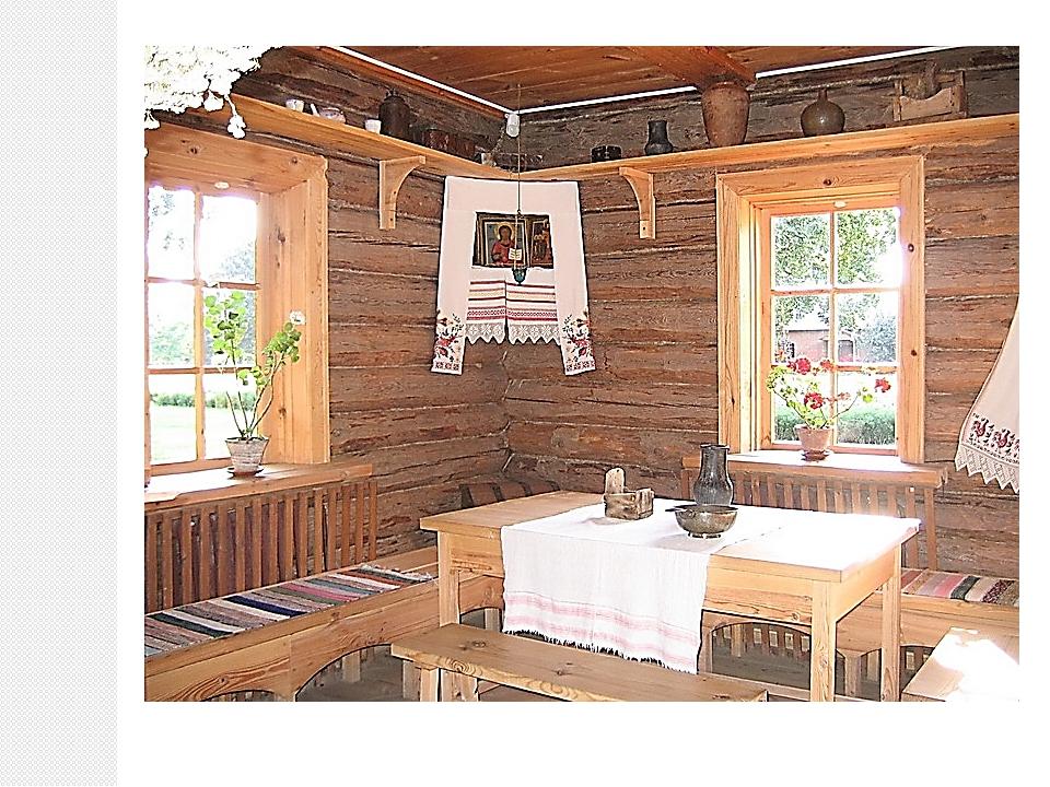 На полках вдоль стен располагалась нехитрая крестьянская посуда: горшки, ков...