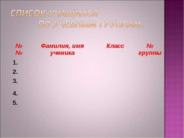 №№Фамилия, имя ученикаКласс№ группы 1. 2. 3. 4. 5.