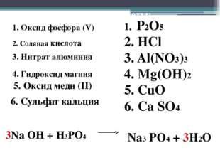 Правильные ответы: 1. P2O5 2. HCl 3. Al(NO3)3 4. Mg(OH)2 5. CuO 6. Ca SO4 3Na