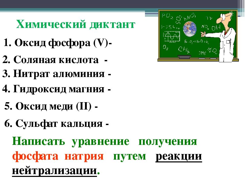 Химический диктант 1. Оксид фосфора (V)- 2. Соляная кислота - 3. Нитрат алюми...