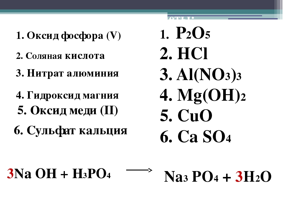 Правильные ответы: 1. P2O5 2. HCl 3. Al(NO3)3 4. Mg(OH)2 5. CuO 6. Ca SO4 3Na...