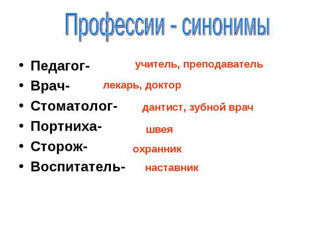 Педагог- Врач- Стоматолог- Портниха- Сторож- Воспитатель- учитель, преподават...