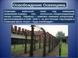 Освобождение Освенцима. Освенцим, известный также под немецкими названиямиАу