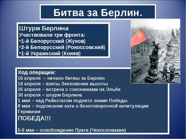 Битва за Берлин. Штурм Берлина Участвовали три фронта: 1-й Белорусский (Жуков...