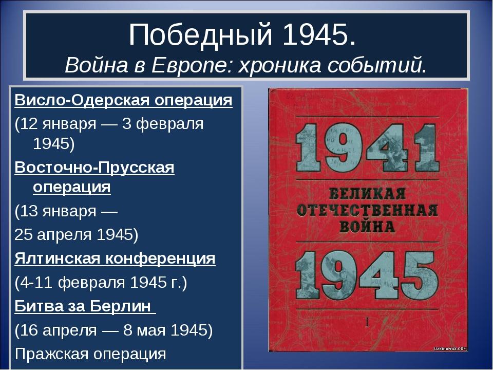 Победный 1945. Война в Европе: хроника событий. Висло-Одерская операция (12 я...