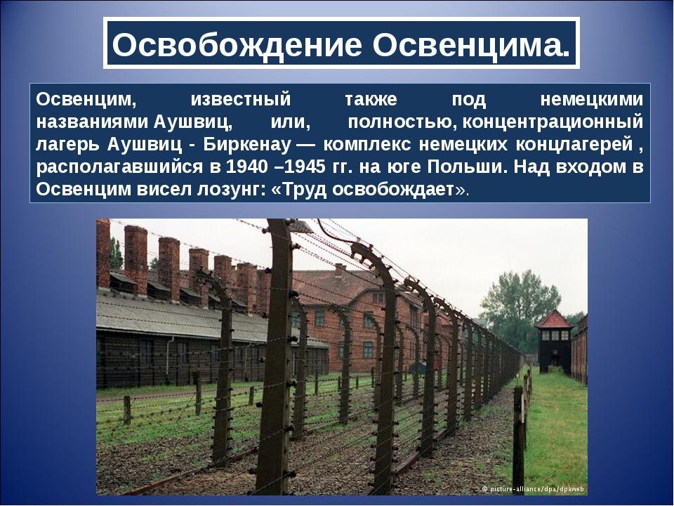 Освобождение Освенцима. Освенцим, известный также под немецкими названиямиАу...