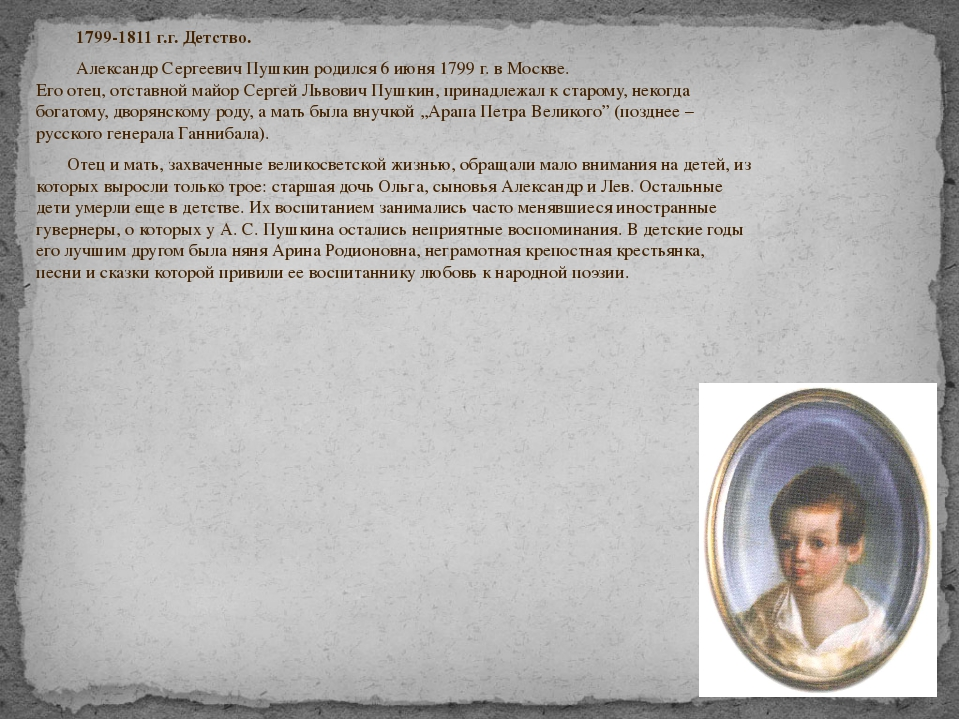 1799-1811 г.г. Детство. Александр Сергеевич Пушкин родился 6 июня 1799 г. в...