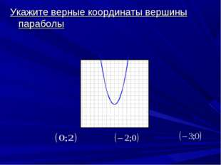 Укажите верные координаты вершины параболы