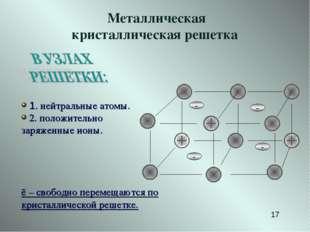 - - 1. нейтральные атомы. 2. положительно заряженные ионы. ē – свободно перем
