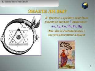 В древние и средние века было известно только 7 металлов: Au, Ag, Cu, Pb, Fe