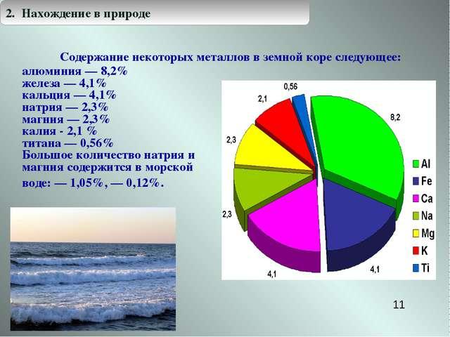 Содержание некоторых металлов в земной коре следующее: * алюминия — 8,2% желе...