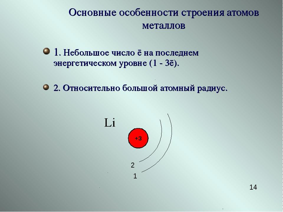 1. Небольшое число ē на последнем энергетическом уровне (1 - 3ē). 2. Относите...