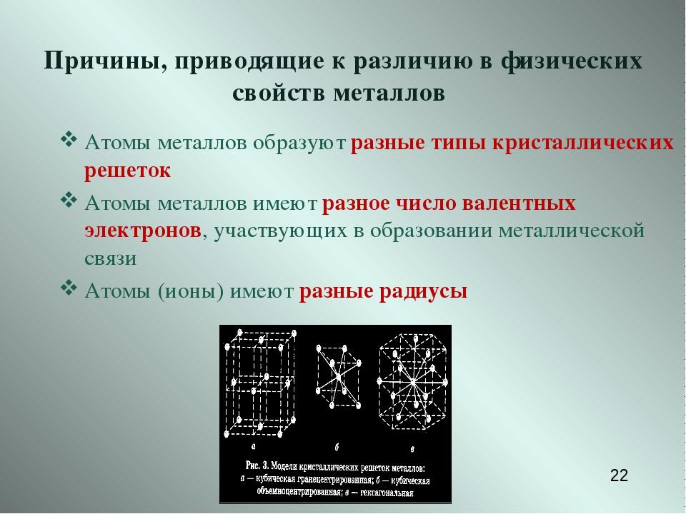 Причины, приводящие к различию в физических свойств металлов Атомы металлов...