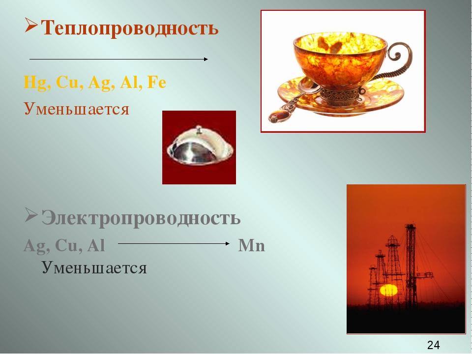 Теплопроводность Hg, Cu, Ag, Al, Fe Уменьшается Электропроводность Ag, Cu, Al...