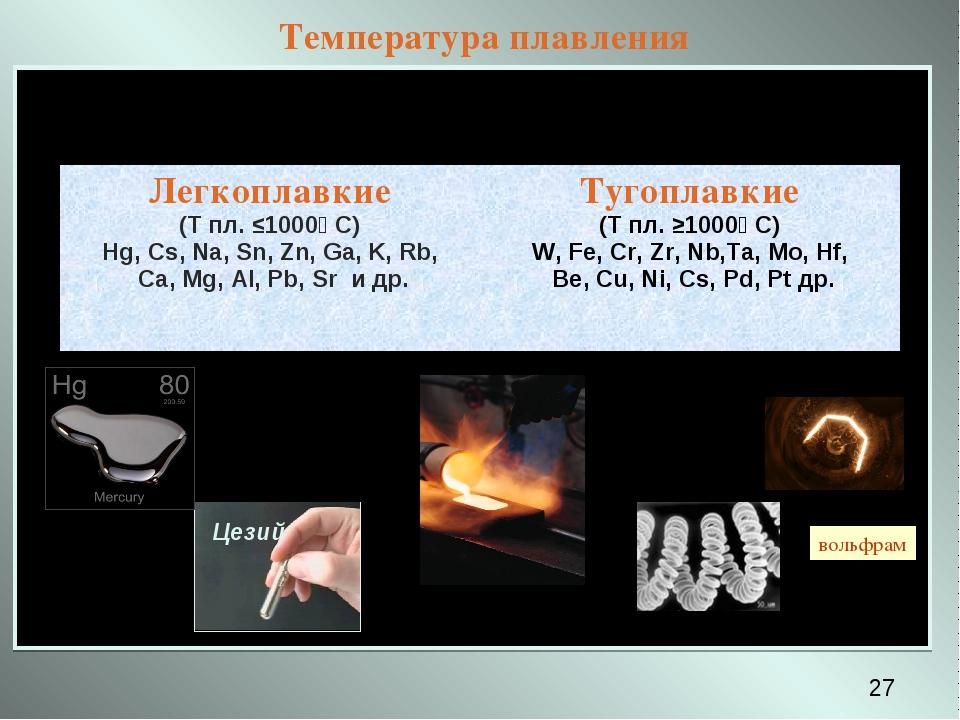 Температура плавления * вольфрам Легкоплавкие (Т пл. ≤1000⁰ С) Hg, Cs, Na, Sn...