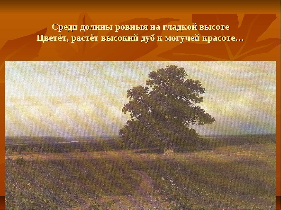 Среди долины ровныя на гладкой высоте Цветёт, растёт высокий дуб к могучей кр...