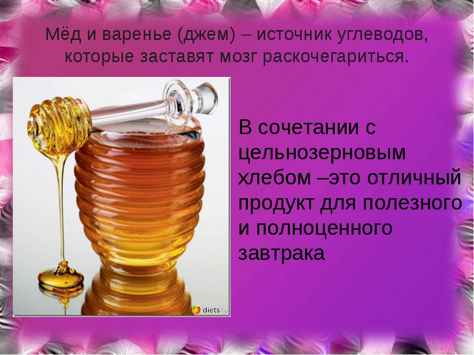 Мёд и варенье (джем) – источник углеводов, которые заставят мозг раскочегарит...