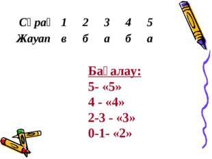 Бағалау: 5- «5» 4 - «4» 2-3 - «3» 0-1- «2»