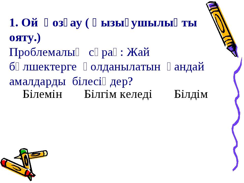 1. Ой қозғау ( қызығушылықты ояту.) Проблемалық сұрақ: Жай бөлшектерге қолдан...