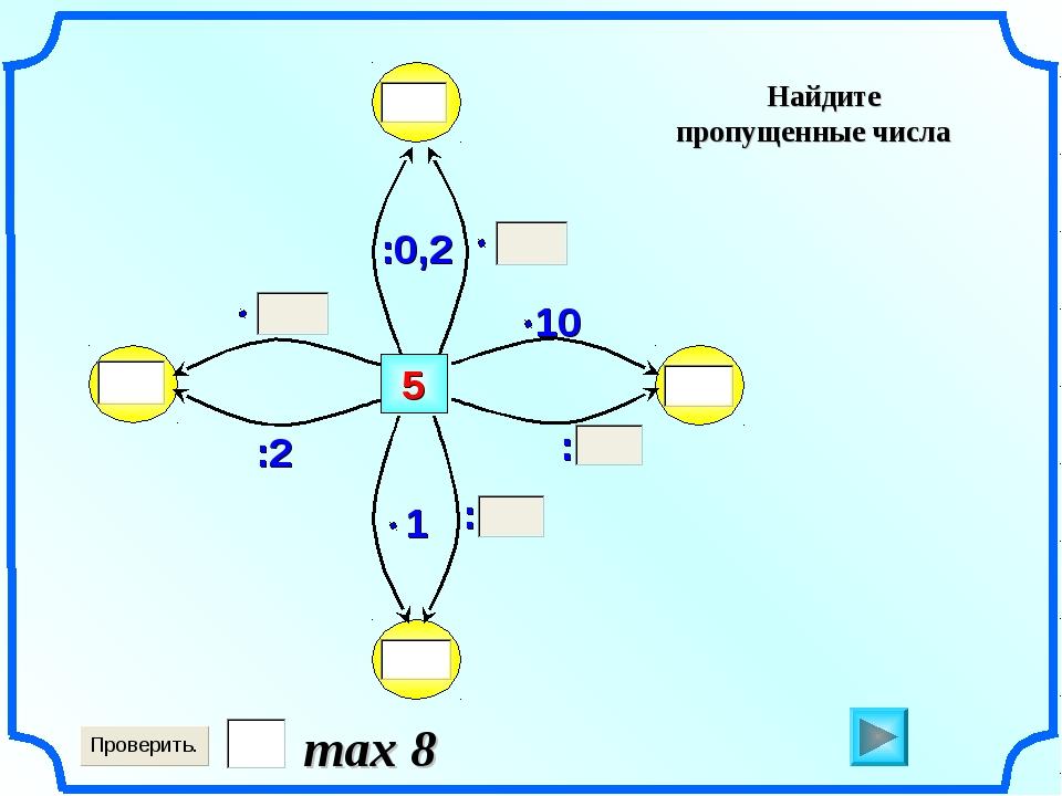5 Найдите пропущенные числа max 8 : : :2 :0,2