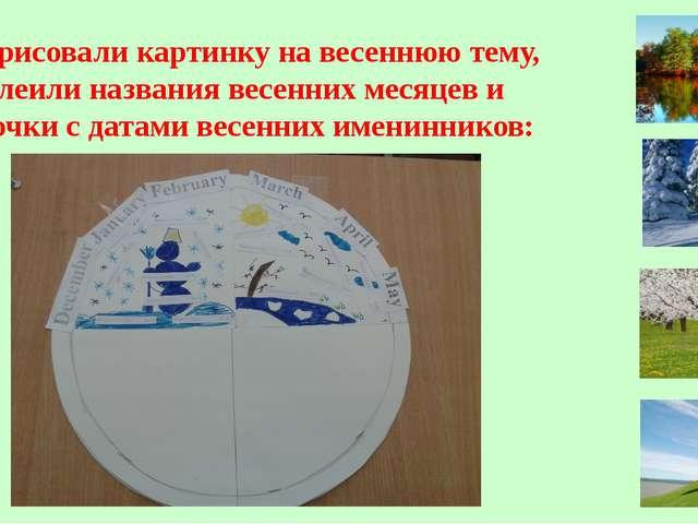 6. Нарисовали картинку на весеннюю тему, приклеили названия весенних месяцев...