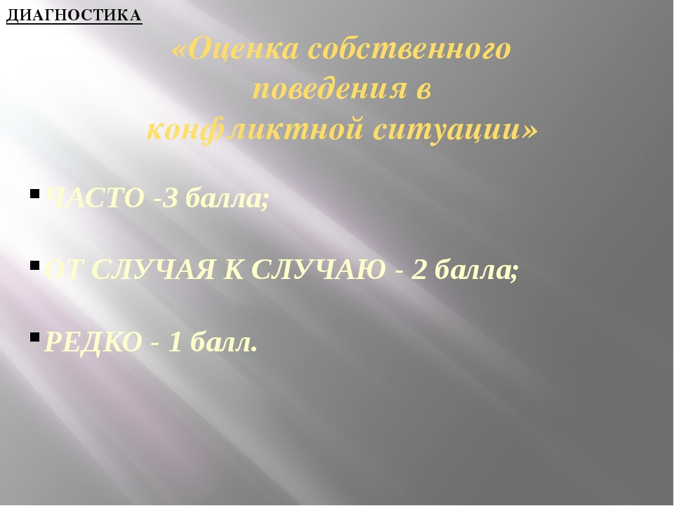 «Оценка собственного поведения в конфликтной ситуации» ЧАСТО -3 балла; ОТ СЛ...