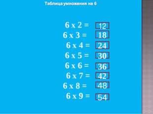 6 х 2 = 6 х 3 = 6 х 4 = 6 х 5 = 6 х 6 = 6 х 7 = 6 х 8 = 6 х 9 = 12 18 24 30