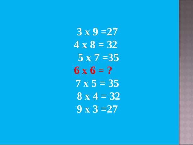 3 х 9 =27 4 х 8 = 32 5 х 7 =35 6 х 6 = ? 7 х 5 = 35 8 х 4 = 32 9 х 3 =27