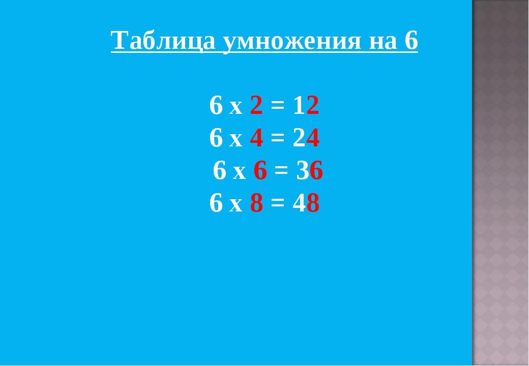 Таблица умножения на 6 6 х 2 = 12 6 х 4 = 24 6 х 6 = 36 6 х 8 = 48