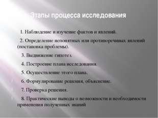 Этапы процесса исследования 1. Наблюдение и изучение фактов и явлений. 2. Опр