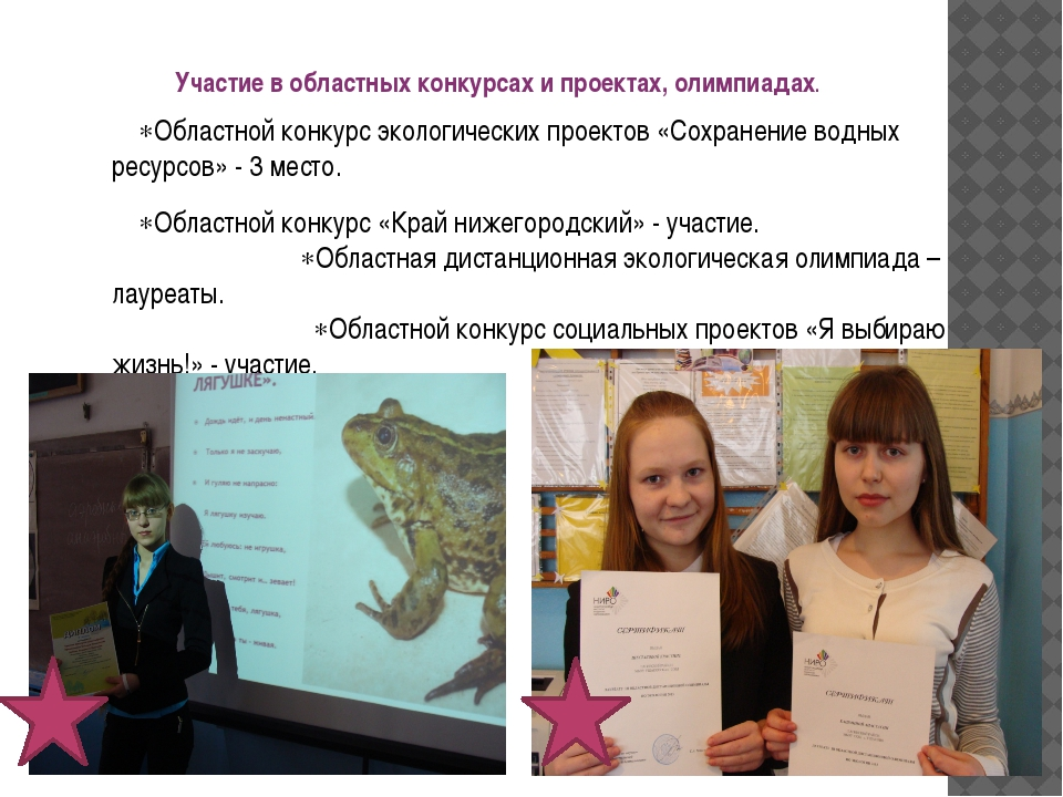 Участие в областных конкурсах и проектах, олимпиадах. Областной конкурс эко...