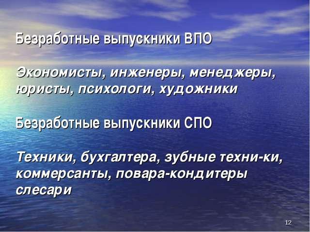 Безработные выпускники ВПО Экономисты, инженеры, менеджеры, юристы, психологи...