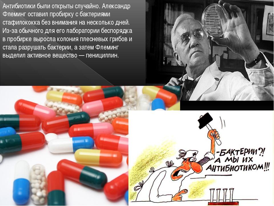 Антибиотики были открыты случайно. Александр Флеминг оставил пробирку с бакте...