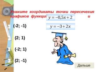 (-2; -1) (2; 1) (-2; 1) (2; -1) Укажите координаты точки пересечения графиков