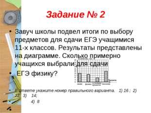 Задание № 2 Завуч школы подвел итоги по выбору предметов для сдачи ЕГЭ учащим