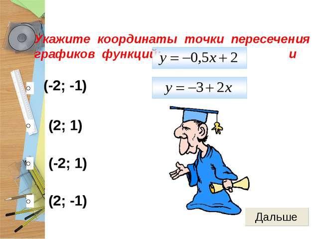 (-2; -1) (2; 1) (-2; 1) (2; -1) Укажите координаты точки пересечения графиков...
