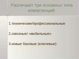 Различают три основных типа компетенций: 1.технические/профессиональные 2.скв