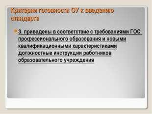 Критерии готовности ОУ к введению стандарта 3. приведены в соответствие с тре