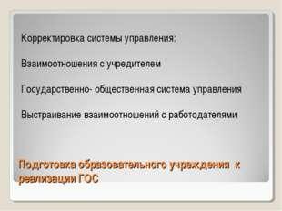 Подготовка образовательного учреждения к реализации ГОС Корректировка системы