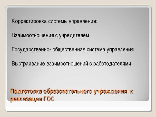 Подготовка образовательного учреждения к реализации ГОС Корректировка системы...